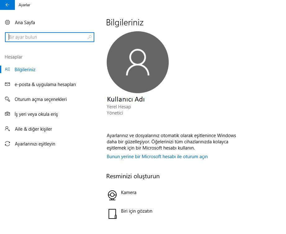 Windows 10 Kullanıcı Resmi Silmek