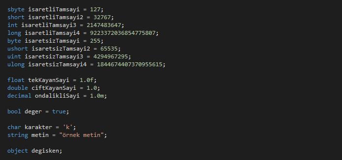 C# Veri Tipleri Nelerdir?