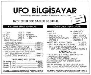 İlk Türk Video Oyunu Yapımcısı Ufo Bilgisayar'ın Commodore dergisinde bir reklamı